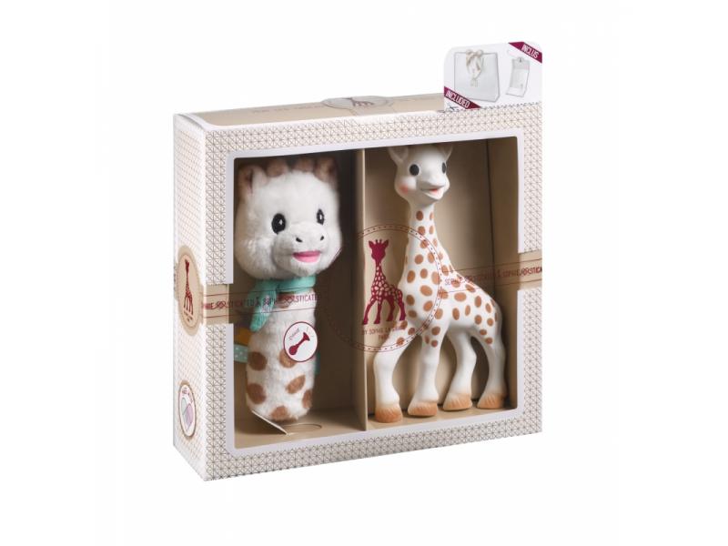 Dárkový set: žirafa Sophie + plyšové chrastítko 1
