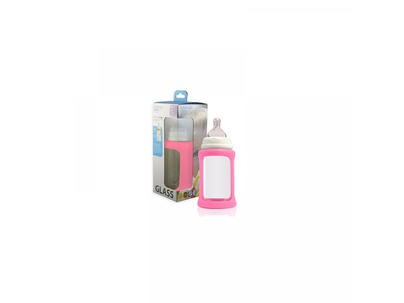 Cherub Baby Skleněná láhev 240 ml + silikonový obal měnící barvu Růžová