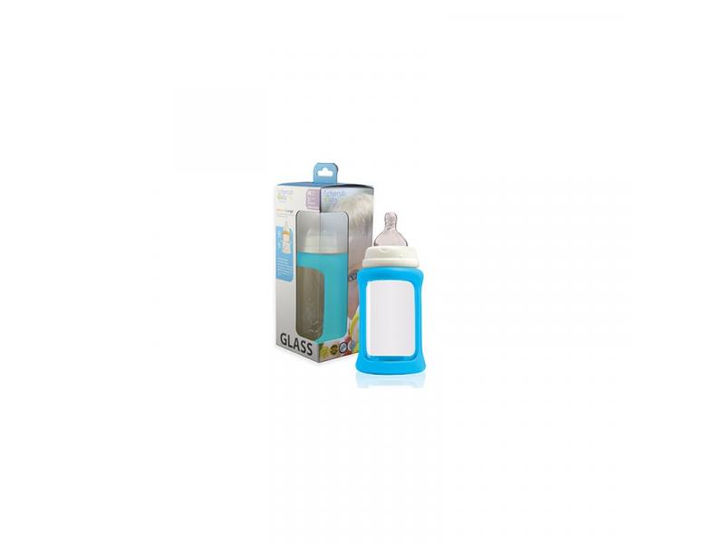 Cherub Baby Skleněná láhev 240 ml + silikonový obal měnící barvu Modrý