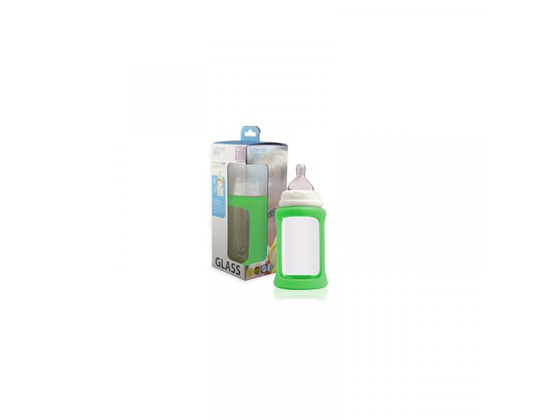 Cherub Baby Skleněná láhev 240 ml + silikonový obal měnící barvu Zelená