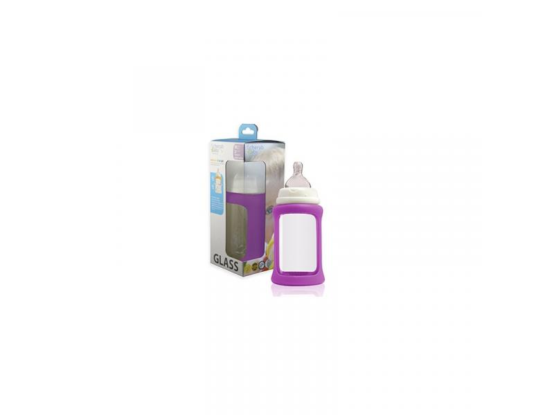 Cherub Baby Skleněná láhev 240 ml + silikonový obal měnící barvu Fialová
