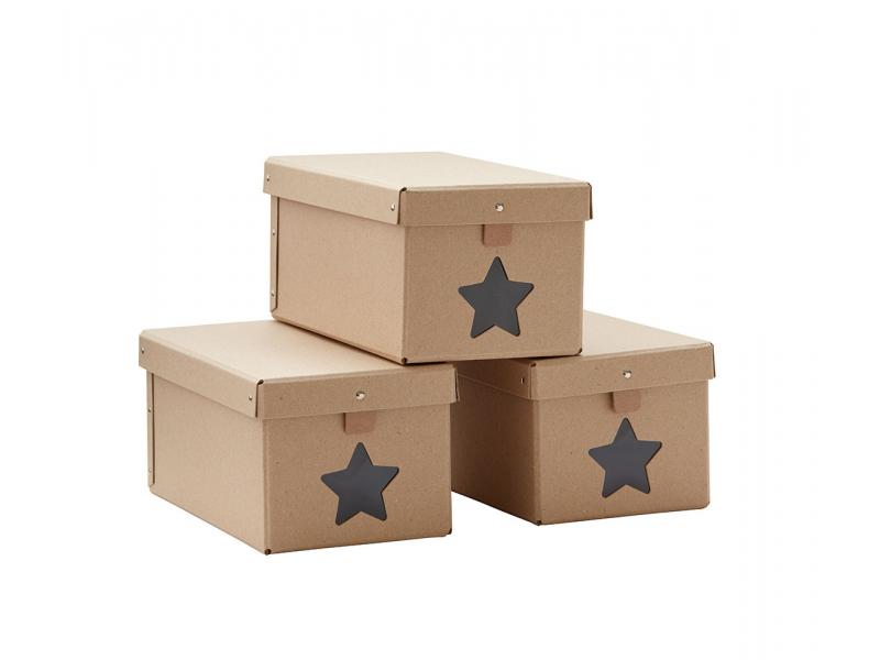 Kids Concept Krabice na boty Natural 3ks