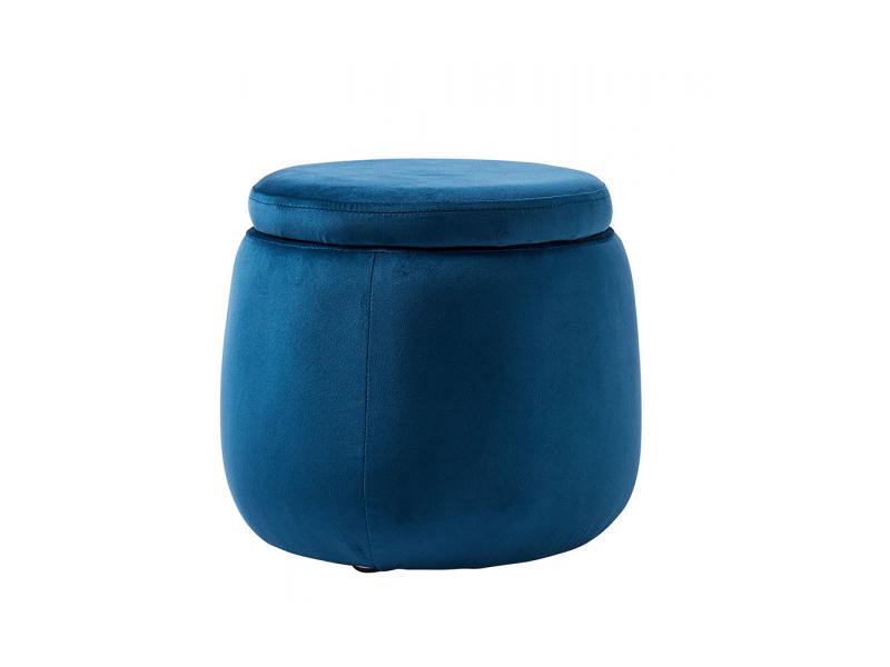 Úložný taburet kulatý Velvet Blue 1