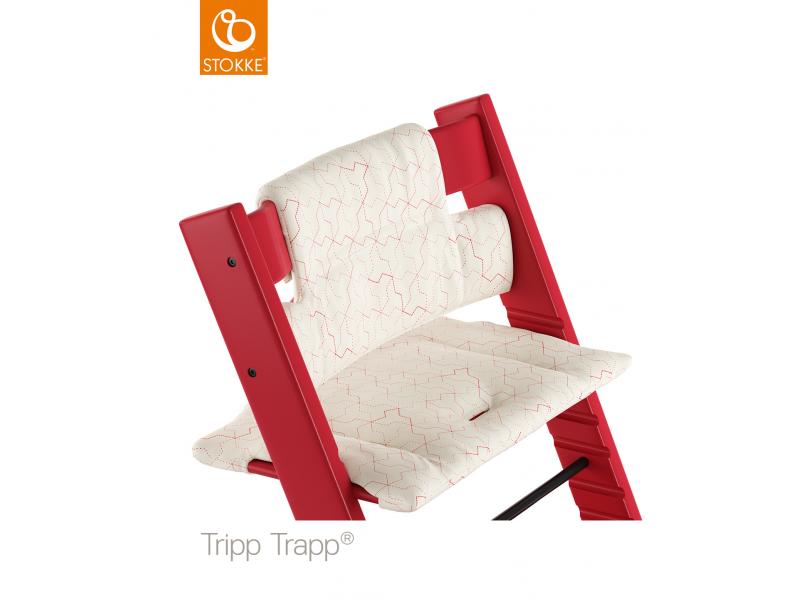Stokke Polstrování classic k židličce Tripp Trapp® - Geometric Red (Organic Cotton)