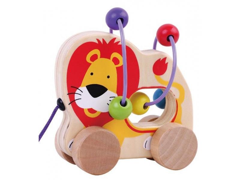 Sun baby Dřevěné tahací zvířátko s labyrintem lev
