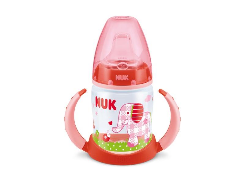 NUK FC lahvička na učení BabyGluck PP 150ml, SI pítko - červená