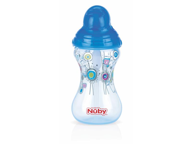 Nuby Netekoucí hrnek Clik-It se zaklapávacím brčkem Flip-it™ 300ml modrý