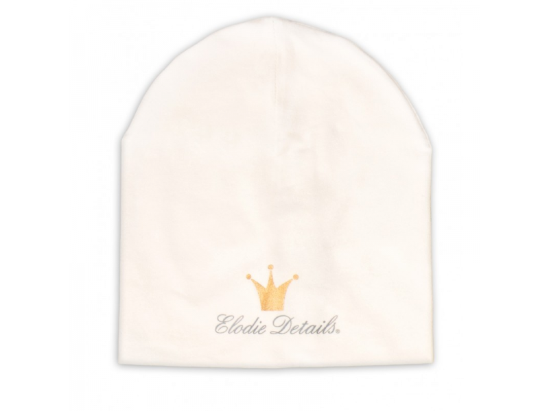 Elodie Details Čepice LOGO - Beanie Vanilla White 1-2 year