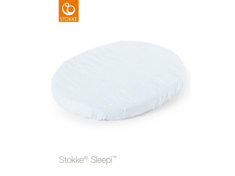 Stokke Prostěradlo do postýlky Sleepi™ Mini 80cm, Blue sea (Organic Cotton)