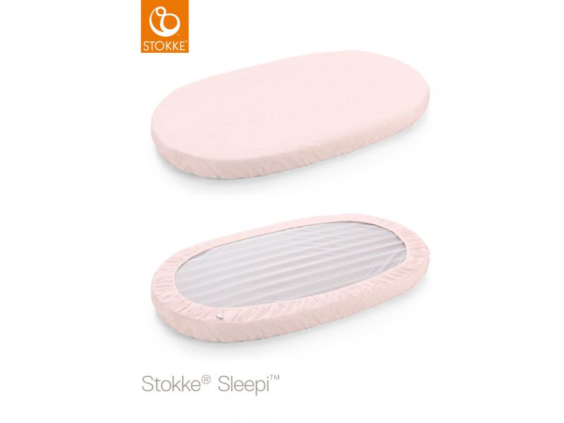 Stokke Prostěradlo do postýlky Sleepi™ 120cm, Pink Bee (Organic Cotton)