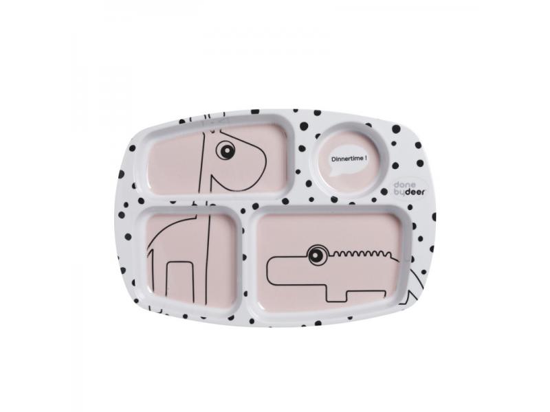 Dělený talíř Happy Dots - růžový 1