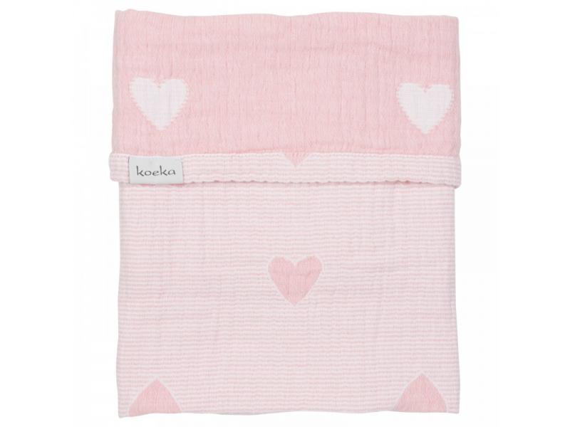 Koeka ALTEA HEARTS deka do kočárku - blush pink, 75x100cm