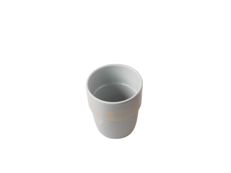 DONE BY DEER Hrníček Contour Yummy mug - šedá/zlatá