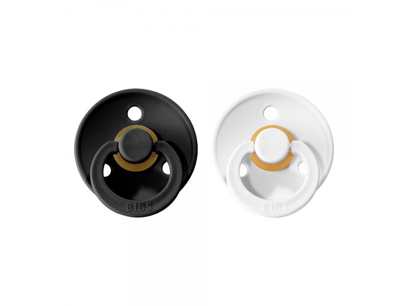 Dudlíky COLOUR Black/White - velikost 1, přír. kaučuk 2ks 1