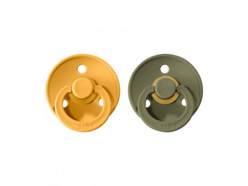 Dudlíky COLOUR Honey Beel/Olive - velikost 1, přír kaučuk 2ks 1