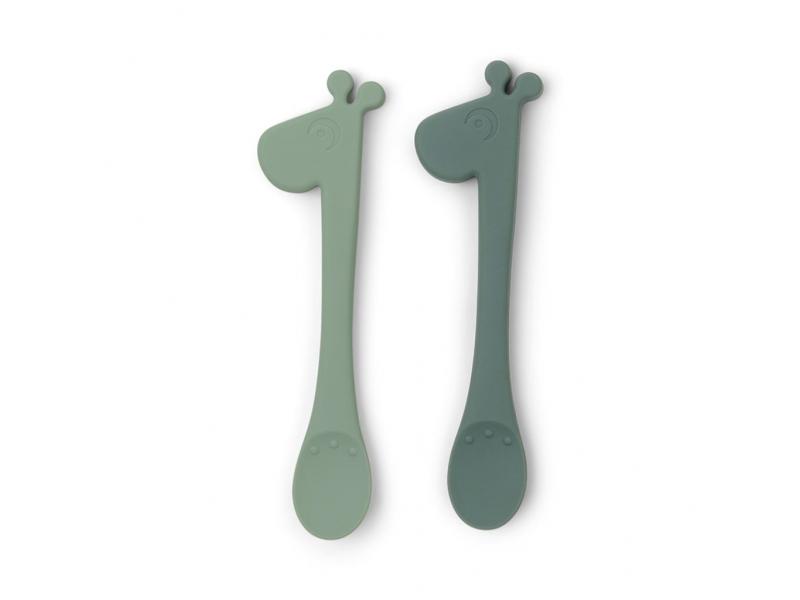 Set 2ks jídelních silikonových lžiček Peekaboo Raffi - zelené 1