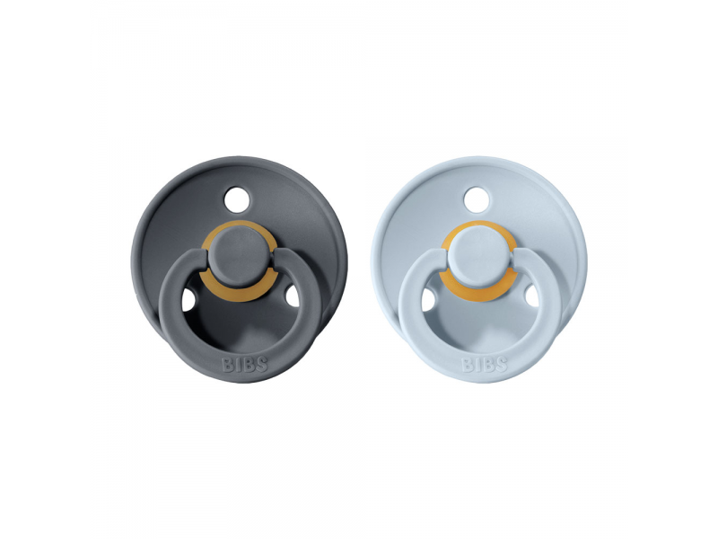 Dudlíky COLOUR Iron/Baby Blue - velikost 2, přír. kaučuk 2ks 1
