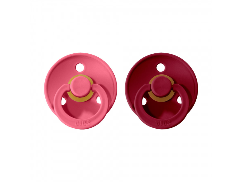 Dudlíky COLOUR Coral/Ruby - velikost 2, přír. kaučuk 2ks 1