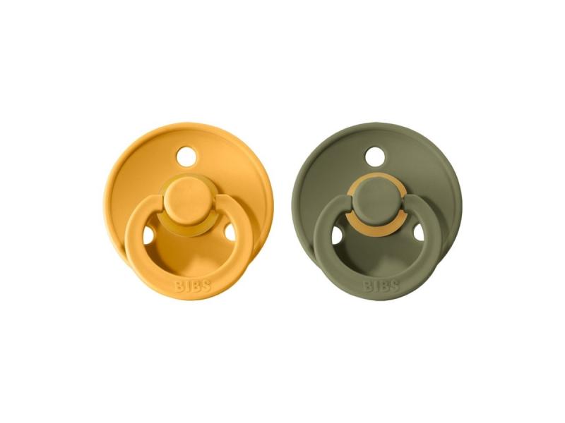 Dudlíky COLOUR Honey Bee/Olive - velikost 2, přír. kaučuk 2ks 1