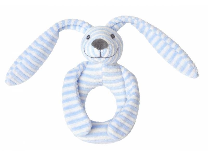 Happy Horse Modrý pruhovaný králíček Reece chrastítko vel.18 cm