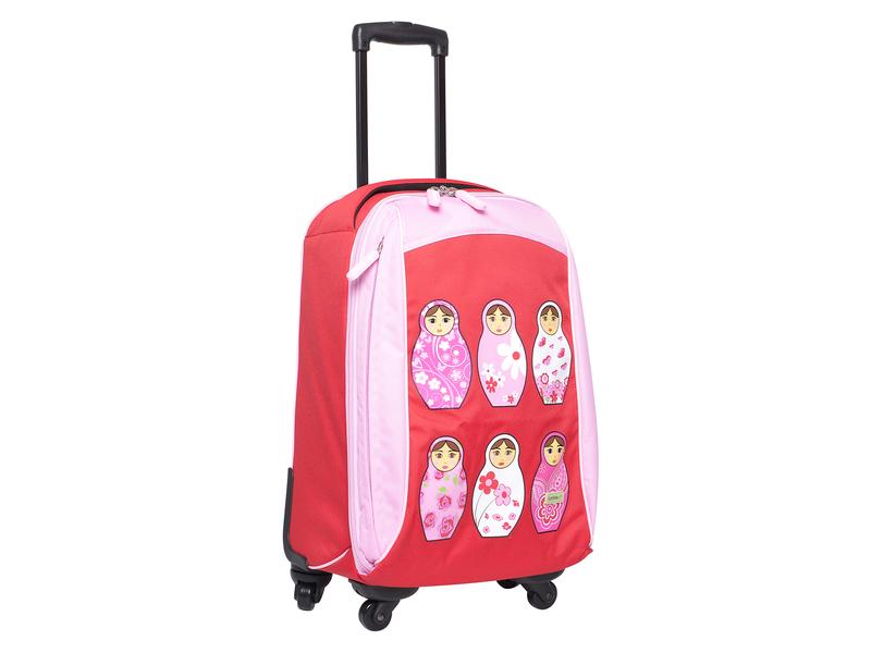 Bobble Art Dětský kufr na kolečkách velký červený / růžový