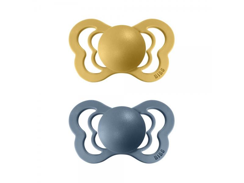 Dudlíky COUTURE ORTODONTIC SILIKON Mustard/Petrol velikost 1, 2ks 1