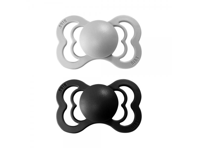 Dudlíky SUPREME Cloud/Black - velikost 1, z přír.kaučuku 2ks 1
