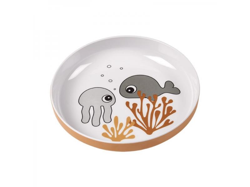 Talíř Sea Friends Yummy - šedá/hořčicová 1