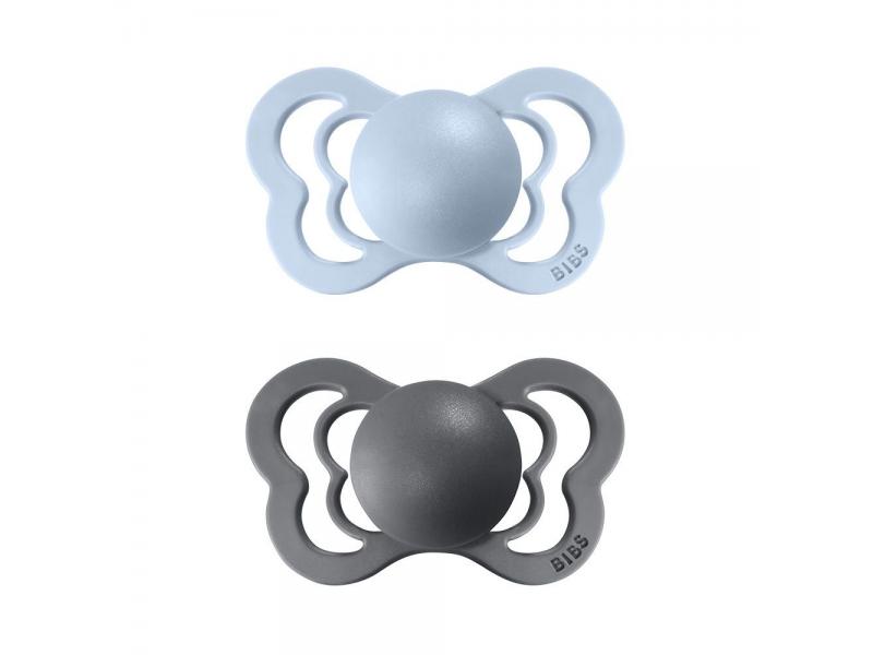 Dudlíky COUTURE ORTODONTIC SILIKON Iron/Baby Blue velikost 2, 2ks 1