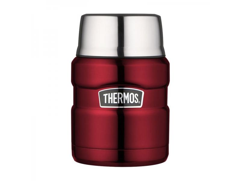 Thermos Termoska na jídlo se skládací lžící a šálkem červená