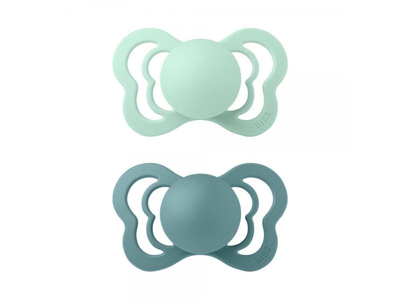 Dudlíky COUTURE Nordic Mint/Island Sea velikost 1, přír.kaučuk 2ks 1