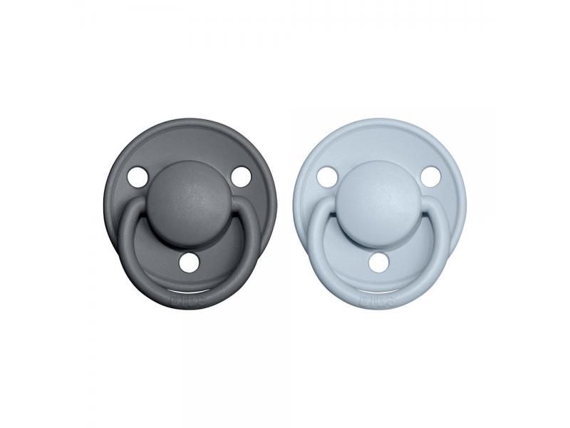 Dudlíky DE LUX Iron/BabyBlue - velikost 1, z přír.kaučuku 2ks 1