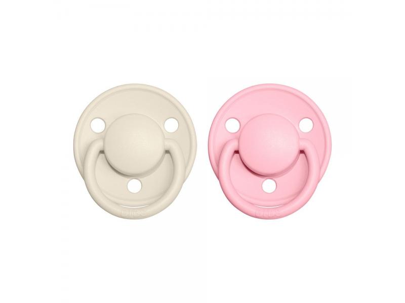 Dudlíky DE LUX Ivory/Baby Pink - velikost 1, z přír.kaučuku 2ks 1