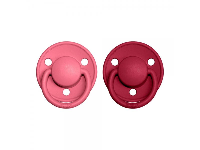 Dudlíky DE LUX Coral/Ruby - velikost 1, z přír.kaučuku 2ks 1