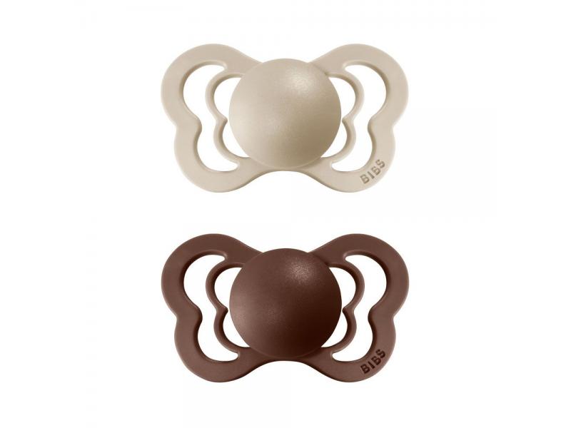 Dudlíky COUTURE Vanilla/Mocha - velikost 2, z přír.kaučuku 2ks 1