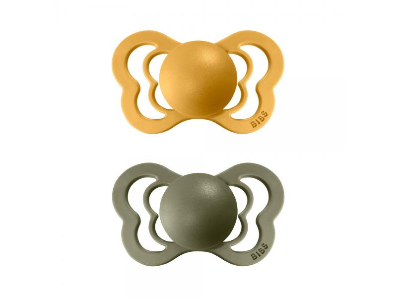Dudlíky COUTURE Honey Bee/Olive - velikost 2, z přír.kaučuku 2ks 1