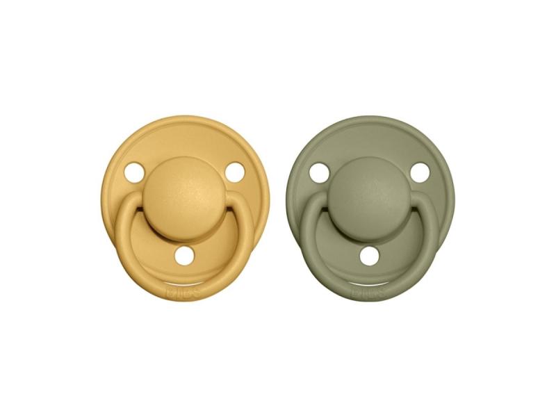 Dudlíky DE LUX Honey Bee/Olive - velikost 2, z přír.kaučuku 2ks 1