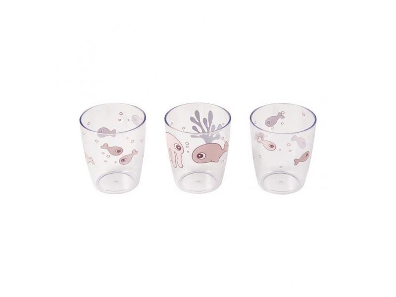 Sea Friends mini skleničky 3ks- růžové 1