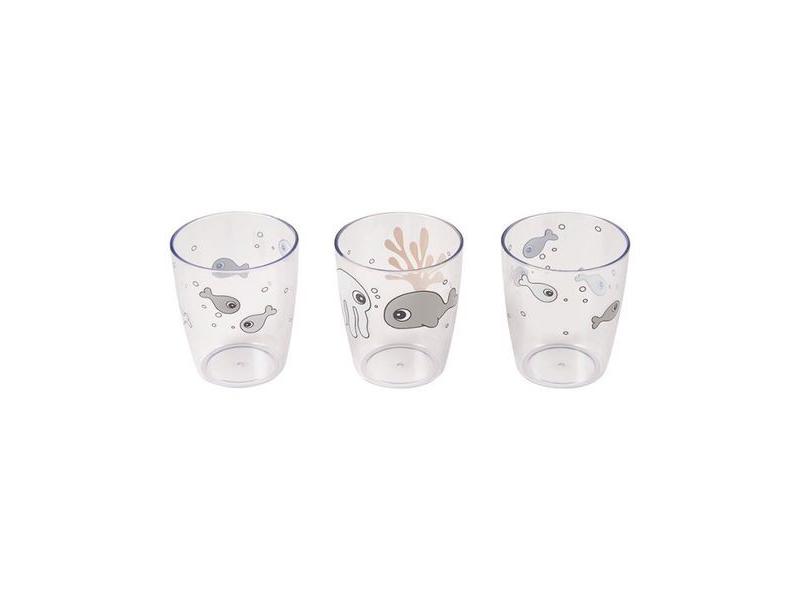 Sea Friends mini skleničky 3ks- šedá/hořčicová 1