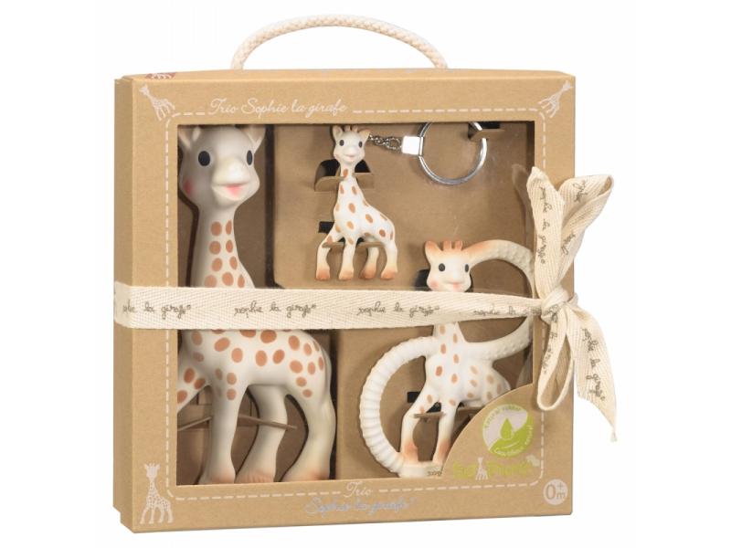Vulli Trio žirafy Sophie - standartní žirafa Sophie, kousátko a klíčenka ze 100% kaučuku