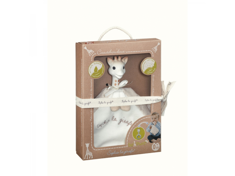 Vulli So'Pure kousací kroužek s mazlíkem žirafa Sophie (vyrobený z 100% přírodní gumy & organické bavlny)