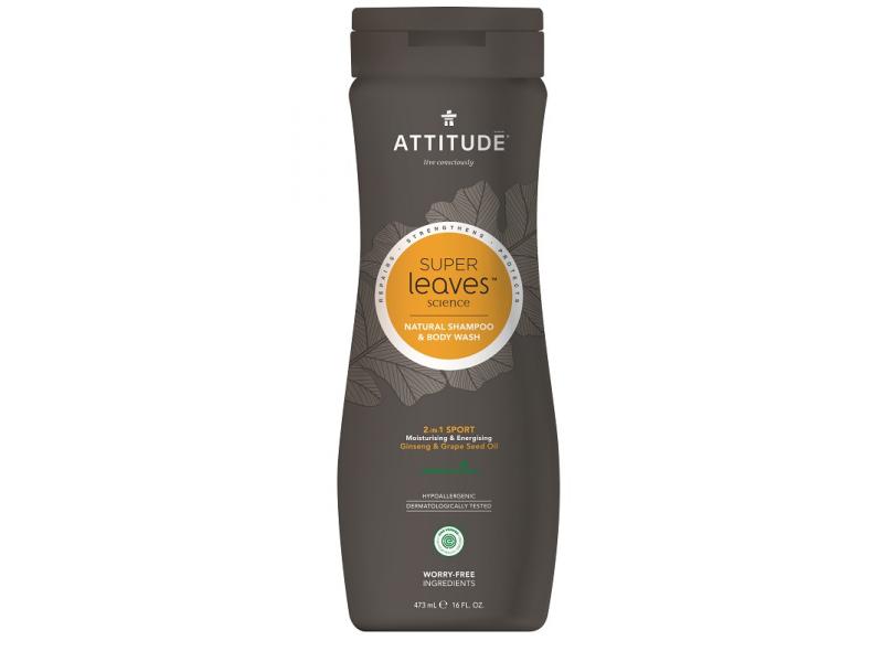 Přírodní pánský šampón & tělové mýdlo (2 v 1) Super leaves s detox. účinkem - normální vlasy 473 ml 1