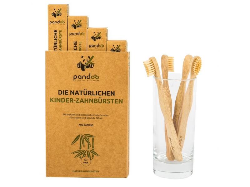Pandoo Bambusové zubní kartáčky dětské Medium Soft 4 ks