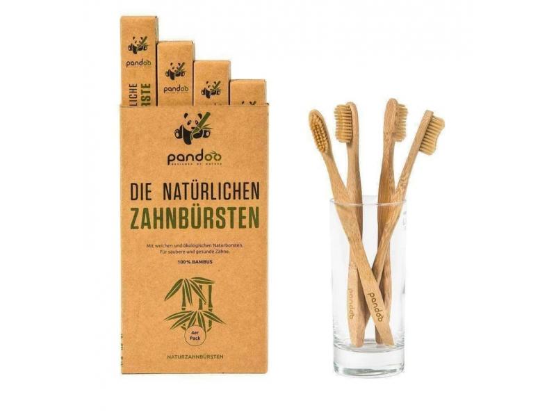 Pandoo Bambusové zubní kartáčky Medium Soft 4 ks