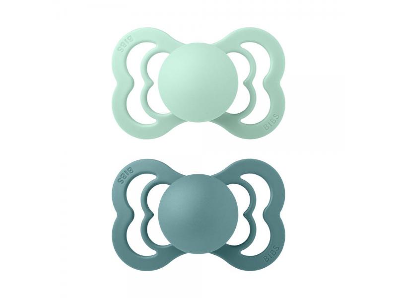 Dudlíky SUPREME Nordic Mint/Island Sea velikost 2, přír.kaučuk 2ks 1