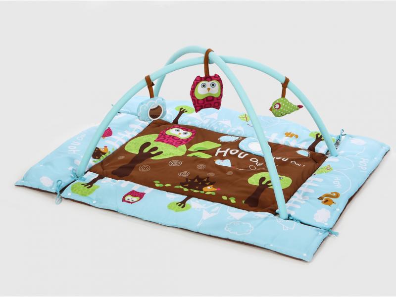 Hrací deka s mantinelem a hrazdou Sova modrá 1