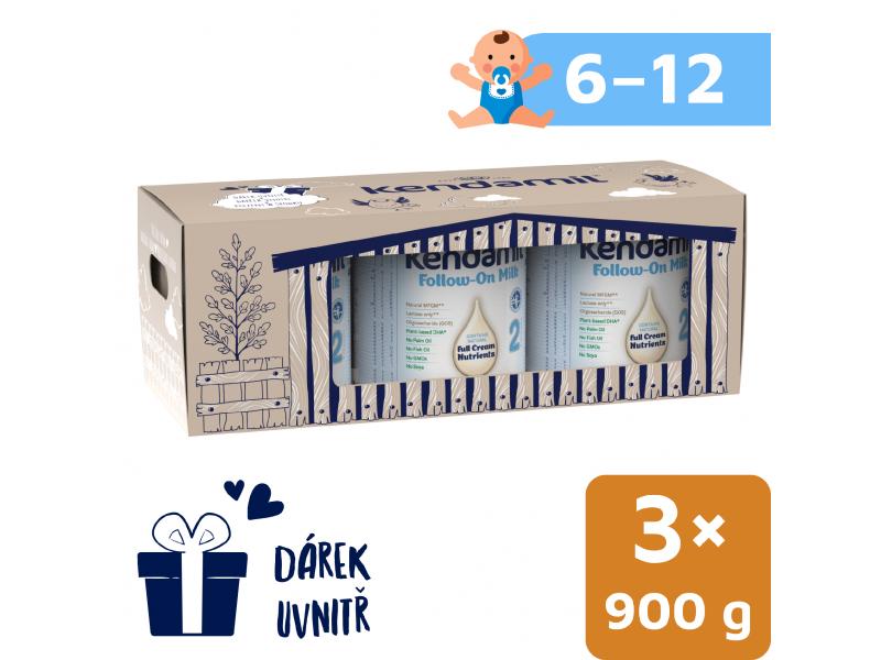 Kendal Nutricare Kendamil pokračovací mléko 2 DHA+ (3× 900 g), pohádkové balení s dárkem a farmou