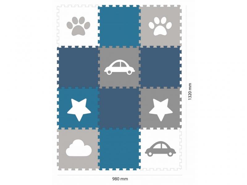 Minideckfloor podlaha 12 dílů - tlapka, mrak, auto, hvězda 1