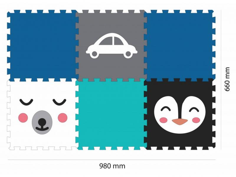 Minideckfloor podlaha 6 dílů - medvěd, tučňák a auto 1