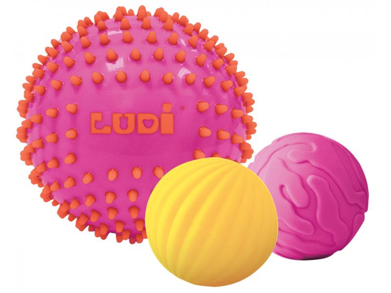 Senzorické míčky 3 ks růžové 1